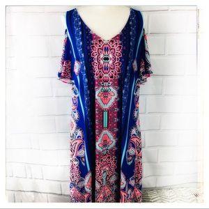 MSK Bohemian Style Cold Shoulder Dress XL